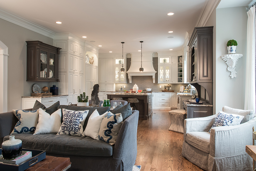 Great In The Open Kitchen/hearth Space, Riley Mixed Aspects Of The More Formal  Living And Dining Rooms But With A More Casual Feel.